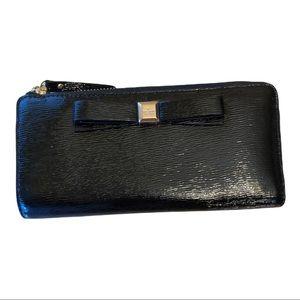 Kate Spade New York Montford Park Nisha Black Saffiano Leather Bow Wallet. RARE
